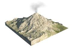 Digital  illustration of parts of a volcano