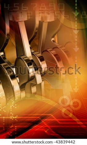Digital illustration of pistons working engines in colour background