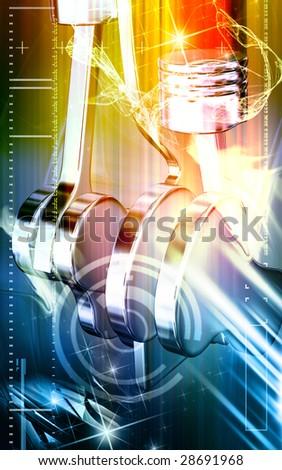 Digital illustration of pistons working in a five stroke engine