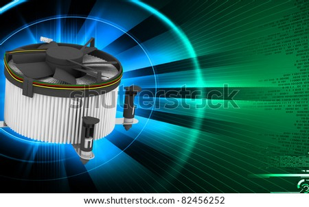 Digital illustration of Processor fan in colour background