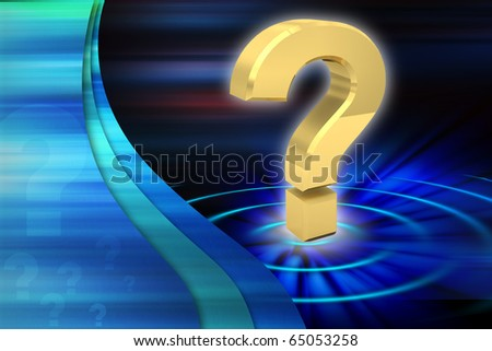 Digital illustration of Question mark in colour background