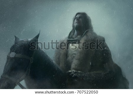 Digital illustration of realistic fantasy medieval male man prince king knight on horse in snowy background