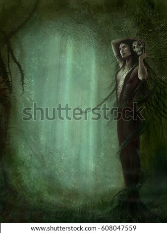 Stock Photo digital illustration of realistic full figure detailed dark female woman creature human elf fairy witch queen holding a skull in forest of thorn