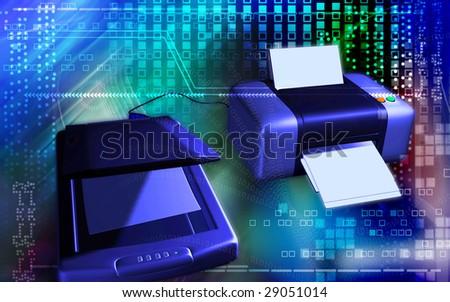 Digital illustration of  scanner and printer