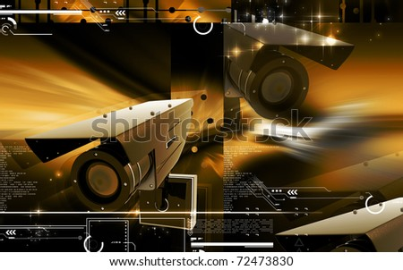 Digital illustration of security camera in colour background	3