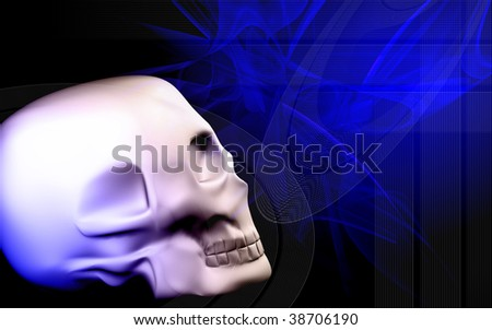 Digital illustration  of  skull  in   colour  background 	 #38706190