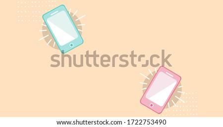 Digital illustration of smartphones ringing. Public health pandemic coronavirus Covid 19 social distancing and self isolation in quarantine lockdown concept digitally generated image Stock photo ©