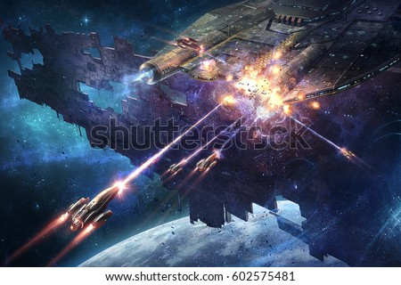 digital illustration of spacecrafts fight mother ship carrier in space universe
