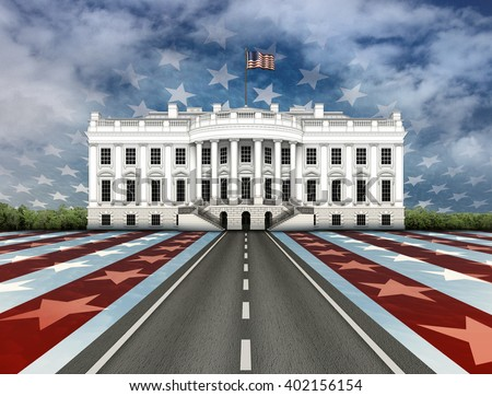 Digital illustration of the White House, a road leading to it, overlayed with stars and stripes.