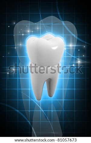 Digital illustration of tooth in color background