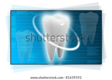 Digital illustration of tooth in colour background
