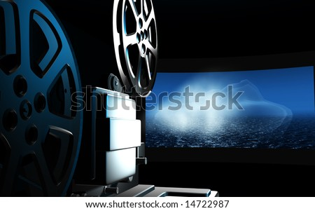 digital illustration of vintage projector in blue background