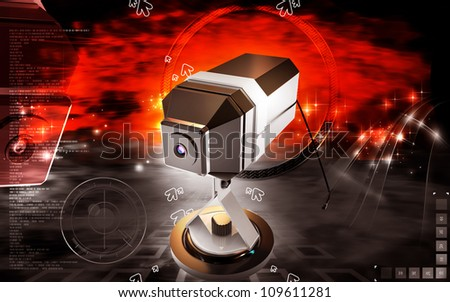 Digital illustration of Web camera in colour background