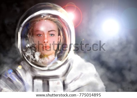 Stock Photo Digital illustration of woman astronaut. Female cosmonaut in outer space. Concept background.