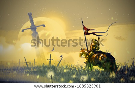 Digital illustration painting design style a golden knight and his horse walking to field of swords.
