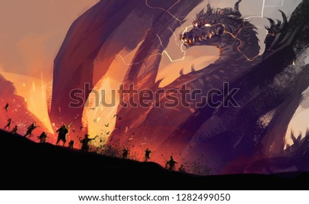 Digital illustration painting design style peoples against a huge dragon with destroyed town.