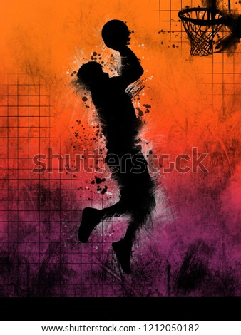 Digital illustration painting of a basketball player