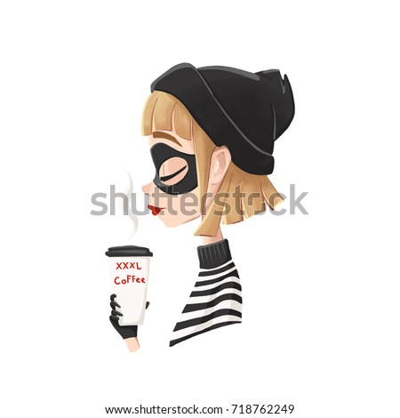 Digital illustration. Profile of a robber girl with a big glass of coffee