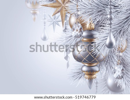 digital illustration, silver christmas tree ornaments, Christmas background, winter holiday, festive greeting card