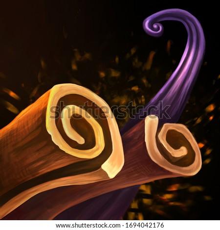 Digital illustration. Violet vanilla pod and cinnamon sticks on black background. Spices.