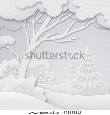 digital illustration, winter forest background, white paper cut, quilling, New Year greeting card