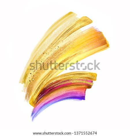 digital illustration, yellow gold brush stroke clip art isolated on white background, dynamic watercolor smear, multicolor neon paint texture, design element