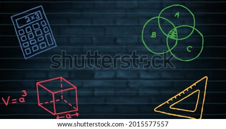 Digital image of multiple mathematics concept icons over horizontal lines against blue brick wall. Education and school concept