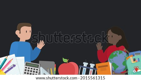 Digital image of stay 6 feet 2 metres apart text and Digital man and woman maintaining social distancing over multiple school concepts icons against black background