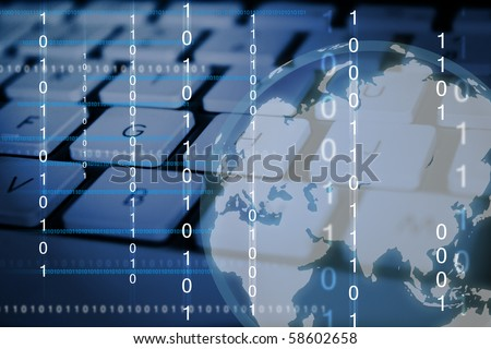 Digital Imaging of binary numbers and a globe with computer keyboard as the background