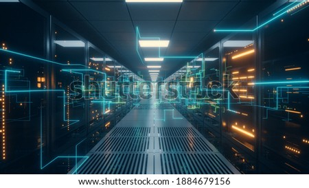 Digital information travels through fiber optic cables through the network and data servers behind glass panels in the server room of the data center. High speed digital lines 3d illustration