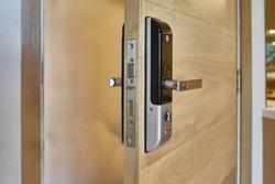 Digital knob door. Digital door lock for safety systems of door.Selective focus