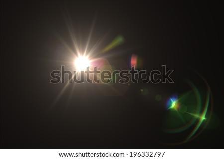 digital lens flare in black bacground horizontal frame - Shutterstock ID 196332797