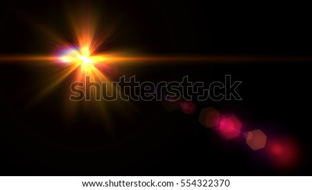 digital lens flare in black background.Beautiful rays of light. #554322370