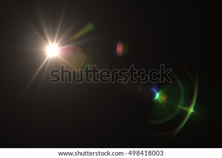Digital lens flare in black background horizontal frame. Modern abstract background ray lights. - Shutterstock ID 498418003