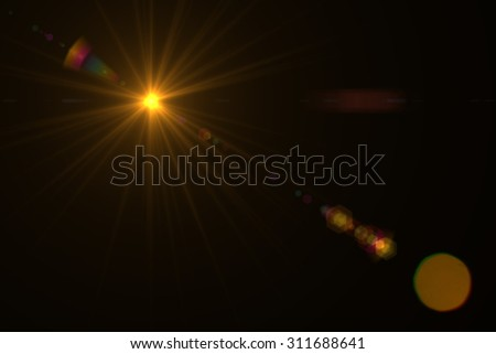 digital lens flare in black background horizontal frame warm #311688641