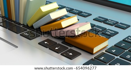 Digital library, e-learning, online bookstore or education. Books stacked on a computer laptop. 3d illustration