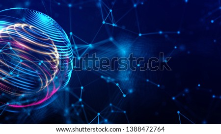Digital light world cyber space 3D rendering background, neon colorful global world in cyber space, future energy power technology and internet connection concept