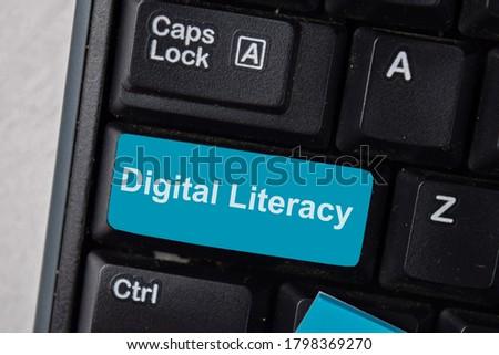 Digital Literacy write on keyboard isolated on laptop background Сток-фото ©