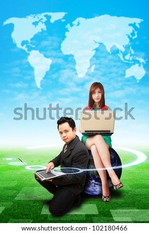 Digital man and lady on globe watching the world map on the sky : Elements of this image furnished by NASA
