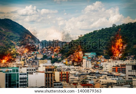 Digital manipulation of fires and smoke from possible gang warfare to control the drug trade in Rio de Janeiro, Brazil slums known as favelas Zdjęcia stock ©