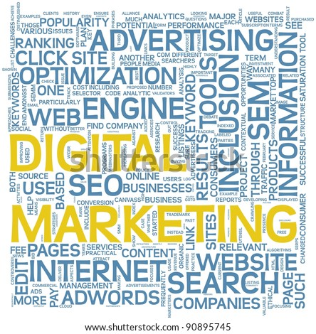 Digital marketing and seo concept in word tag cloud on white background