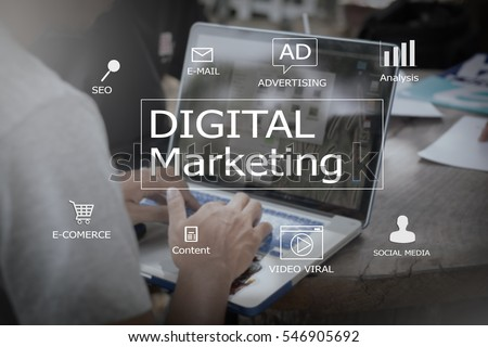 Digital marketing concept.blurred man using laptop or computer,color filters #546905692