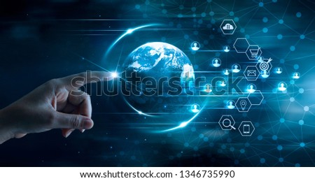 Digital marketing concept, Business technology, Mobile payments, Banking network, Online shopping, Hand touching global network and data customer connection on dark blue background.