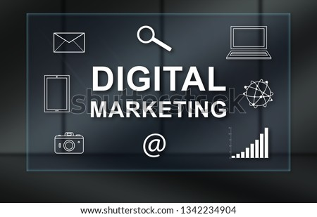 Digital marketing concept on dark background