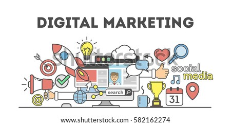 Digital marketing concept. Social network and media communication. SEO, SEM and promotion.