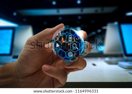Digital marketing media (website ad, email, social network, SEO, video, mobile app) in virtual globe shape diagram.Elements of this image furnished by NASA #1164996331