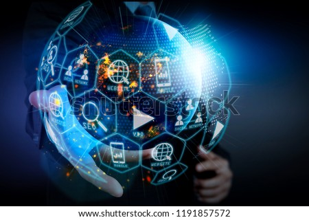 Digital marketing media (website ad, email, social network, SEO, video, mobile app) in virtual globe shape diagram.businessman showing globe world.Elements of this image furnished by NASA