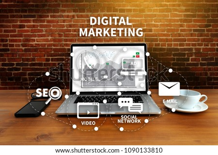 DIGITAL MARKETING new startup project MILLENNIALS Business team hands at work with financial reports and a laptop #1090133810