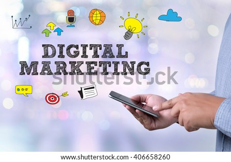 DIGITAL MARKETING person holding a smartphone on blurred cityscape background