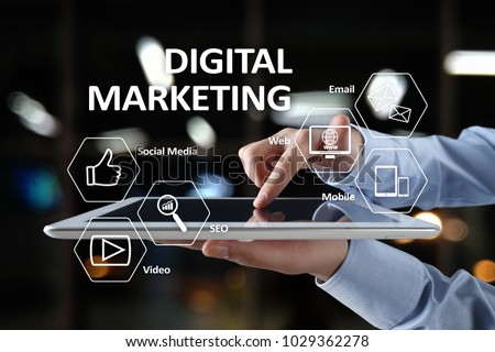DIgital marketing technology concept. Internet. Online. Search Engine Optimisation. SEO. SMM. Advertising. #1029362278